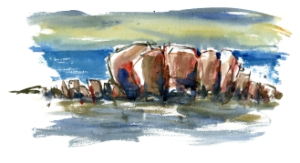 rocks, akvarel - Watercolor by Frits Ahlefeldt Bornholm Coast path
