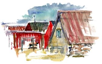Snogebaek, akvarel - Watercolor by Frits Ahlefeldt Bornholm Coast path