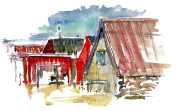 Snogebaek, akvarel - Watercolor by Frits Ahlefeldt Bornholm Coast path