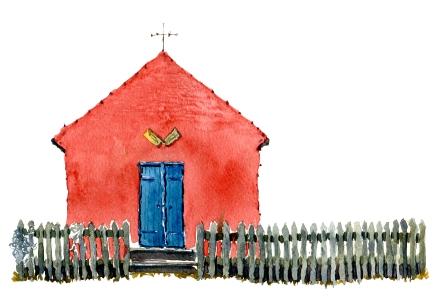 snogebaek, red house, akvarel - Watercolor by Frits Ahlefeldt Bornholm Coast path