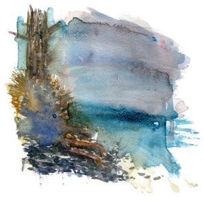 sketch, coast trail, akvarel - Watercolor by Frits Ahlefeldt Bornholm Coast path