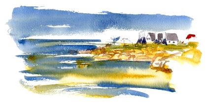 Svaneke, smokehouses, akvarel - Watercolor by Frits Ahlefeldt Bornholm Coast path