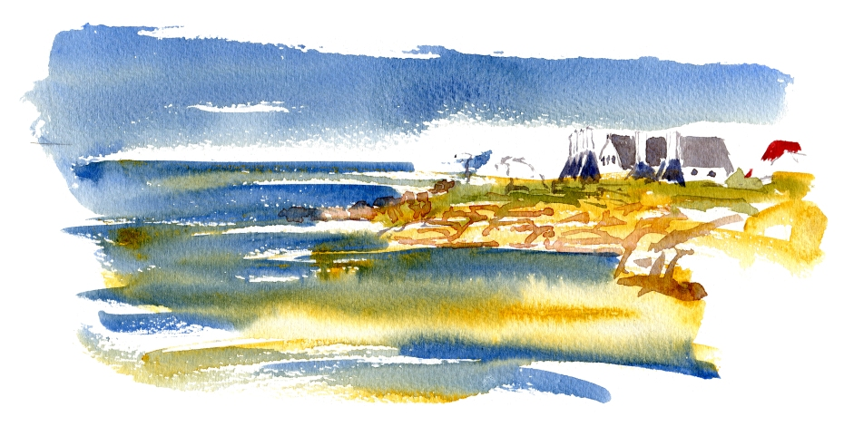 Svaneke, smokehouses, akvarel - Watercolor by Frits Ahlefeldt Bornholm Coast path