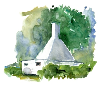 Svaneke hus, akvarel - Watercolor by Frits Ahlefeldt Bornholm Coast path