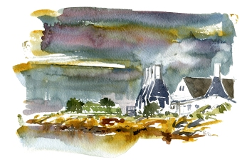 svaneke, akvarel - Watercolor by Frits Ahlefeldt Bornholm Coast path