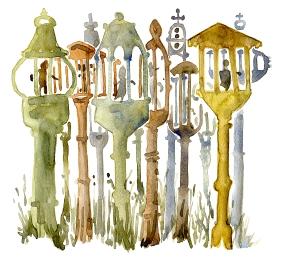 Wood art, akvarel - Watercolor by Frits Ahlefeldt Bornholm Coast path