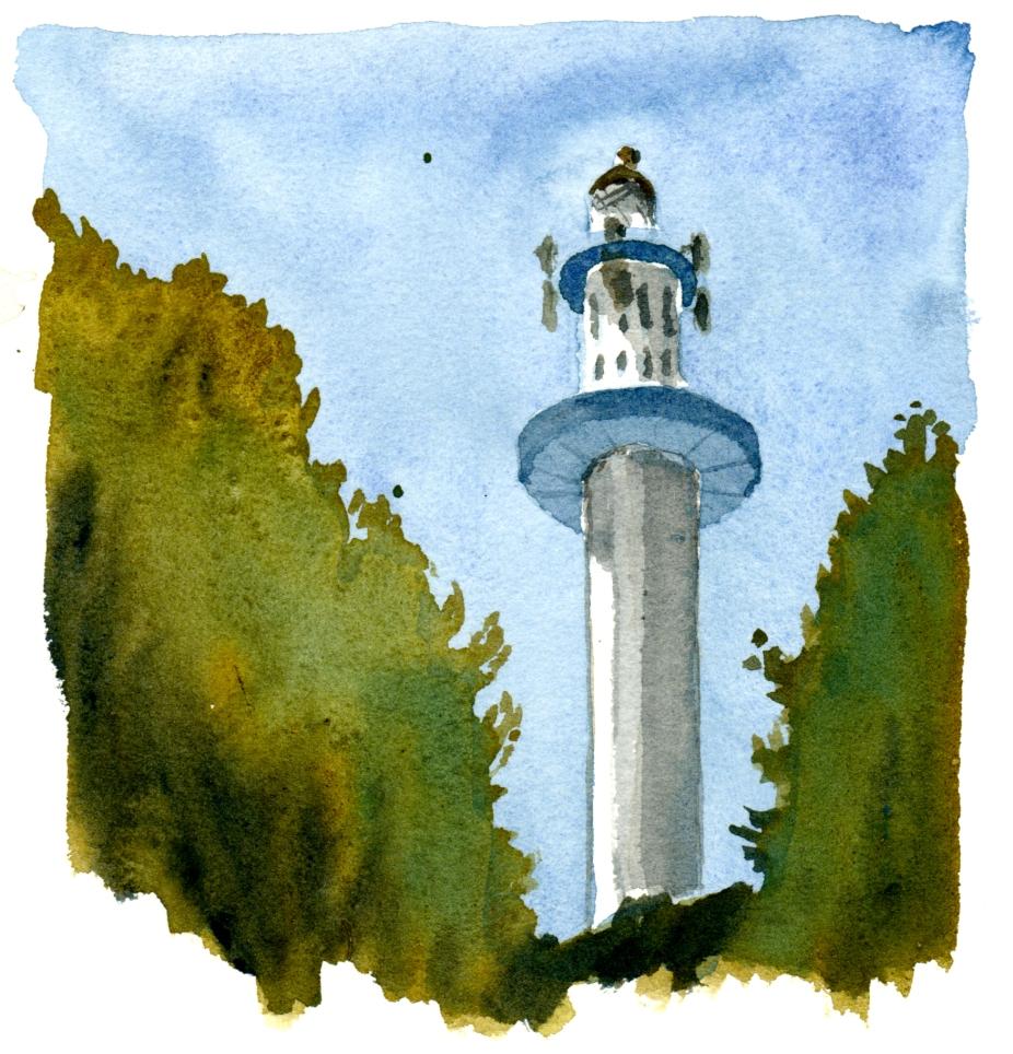 lighthouse, akvarel - Watercolor by Frits Ahlefeldt Bornholm Coast path