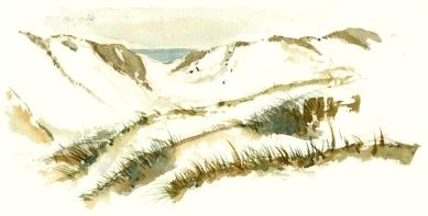 dueodde, beach, akvarel - Watercolor by Frits Ahlefeldt Bornholm Coast path