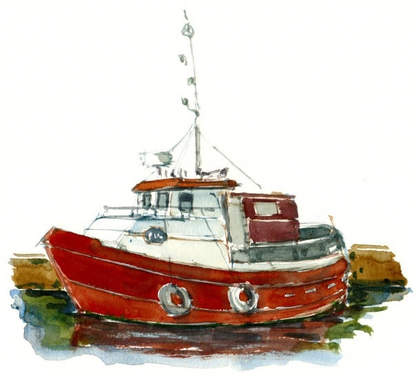 fiskekutter, akvarel - Watercolor by Frits Ahlefeldt Bornholm Coast path