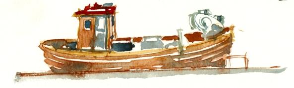 fiskejolle, akvarel - Watercolor by Frits Ahlefeldt Bornholm Coast path