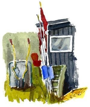 Shack, akvarel - Watercolor by Frits Ahlefeldt Bornholm Coast path