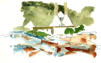 Gudhjem Røgeri, akvarel - Watercolor by Frits Ahlefeldt Bornholm Coast path