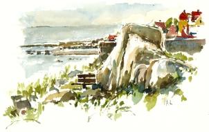 Gudhjem, akvarel - Watercolor by Frits Ahlefeldt Bornholm Coast path