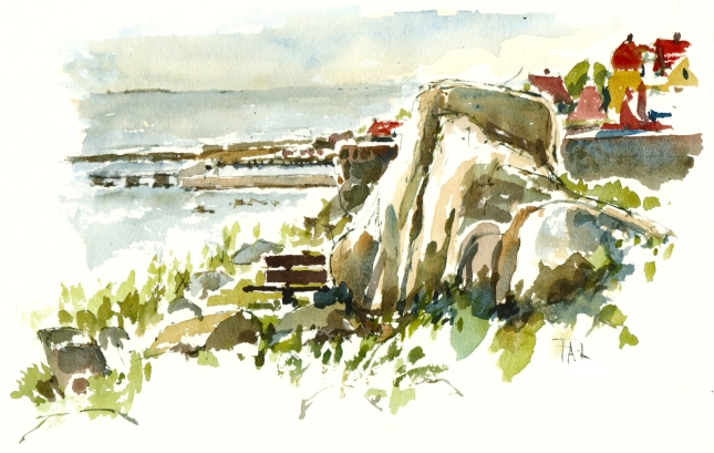 Gudhjem, akvarel - Watercolor by Frits Ahlefeldt Bornholm Coast path