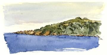 Gudhjem from a distance, akvarel - Watercolor by Frits Ahlefeldt Bornholm Coast path