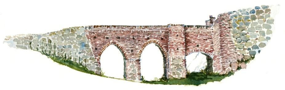 Castle ruin, akvarel - Watercolor by Frits Ahlefeldt Bornholm Coast path