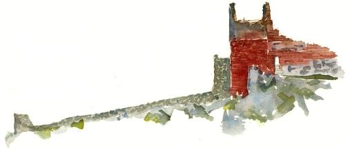 Hammershus castle ruin, akvarel - Watercolor by Frits Ahlefeldt Bornholm Coast path