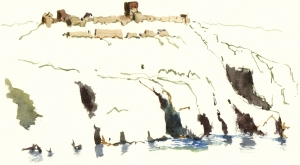 Hammershus, sketch, akvarel - Watercolor by Frits Ahlefeldt Bornholm Coast path