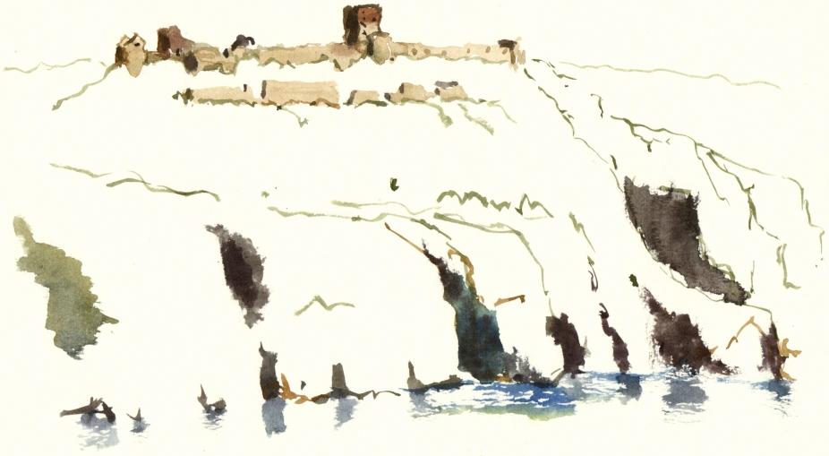 Hammershus, sketch, akvarel - Watercolor by Frits Ahlefeldt Bornholm Coast path