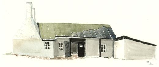 Hasle Røgeri, akvarel - Watercolor by Frits Ahlefeldt Bornholm Coast path