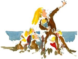 hellig kvinde, akvarel - Watercolor by Frits Ahlefeldt Bornholm Coast path