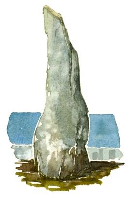 Bornholm holy stone, ancient, akvarel - Watercolor by Frits Ahlefeldt Bornholm Coast path