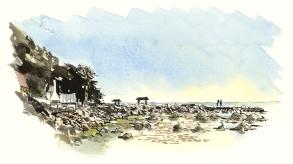 Fishing village. akvarel - Watercolor by Frits Ahlefeldt Bornholm Coast path