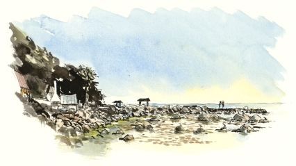 Fishing village. akvarel - Watercolor by Frits Ahlefeldt Bornholm Coast path