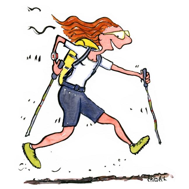 Tegning af ekstrem trail vandrer. Af Frits Ahlefeldt