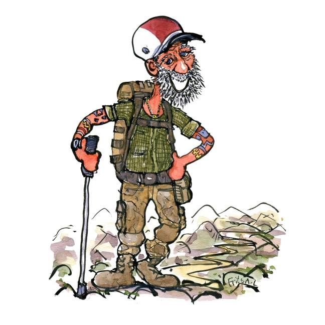 tegning af veteran vandrer