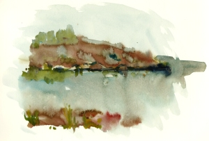 Rocks, klipper, akvarel - Watercolor by Frits Ahlefeldt Bornholm Coast path
