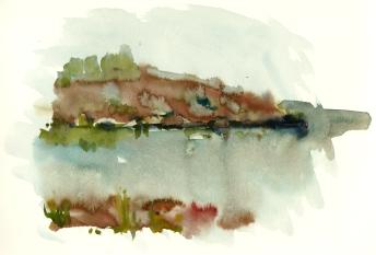 Rocks, klipper, akvarel - Watercolor by Frits Ahlefeldt Bornholm Coast path
