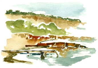Strand. akvarel - Watercolor by Frits Ahlefeldt Bornholm Coast path
