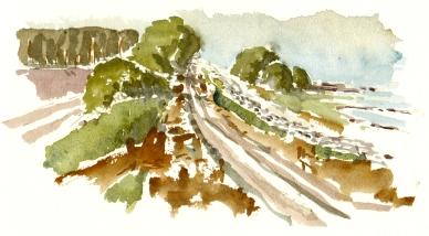 Skanse, defense hill, akvarel - Watercolor by Frits Ahlefeldt Bornholm Coast path