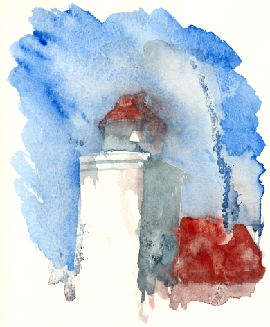 Lighthouse, akvarel - Watercolor by Frits Ahlefeldt Bornholm Coast path