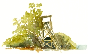 Birdwatching tower, nexo. akvarel - Watercolor by Frits Ahlefeldt Bornholm Coast path