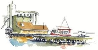 Nexo harbor, akvarel - Watercolor by Frits Ahlefeldt Bornholm Coast path