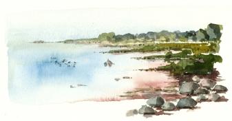 øst for nexø, akvarel - Watercolor by Frits Ahlefeldt Bornholm Coast path