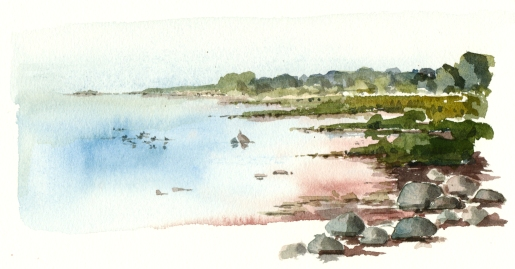 øst for nexø, akvarel - Watercolor by Frits Ahlefeldt Bornholm Coast path