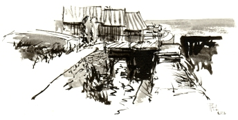 Nexo, ink sketch, akvarel - Watercolor by Frits Ahlefeldt Bornholm Coast path
