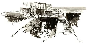 Nexo, ink sketch, akvarel - Watercolor by Frits Ahlefeldt Bornholm Coast path