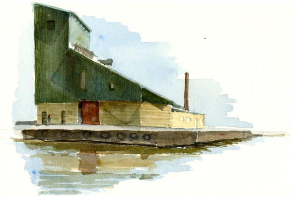 Nexo harbor, akvarel - Watercolor by Frits Ahlefeldt Bornholm Coast path