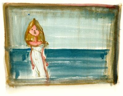 pige ved hav, akvarel - Watercolor by Frits Ahlefeldt Bornholm Coast path