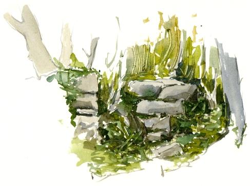 path, East coast akvarel - Watercolor by Frits Ahlefeldt Bornholm Coast path