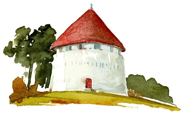 Roenne defense tower, kastel, akvarel - Watercolor by Frits Ahlefeldt Bornholm Coast path