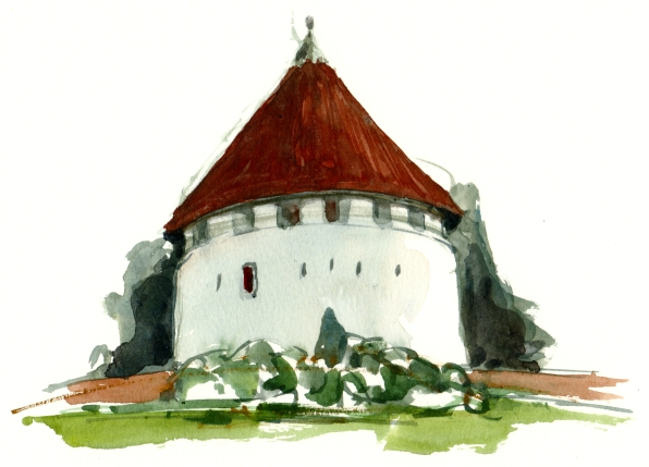 Rønne kastel, defense tower, akvarel - Watercolor by Frits Ahlefeldt Bornholm Coast path