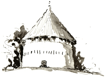 kastellet, akvarel - Watercolor by Frits Ahlefeldt Bornholm Coast path
