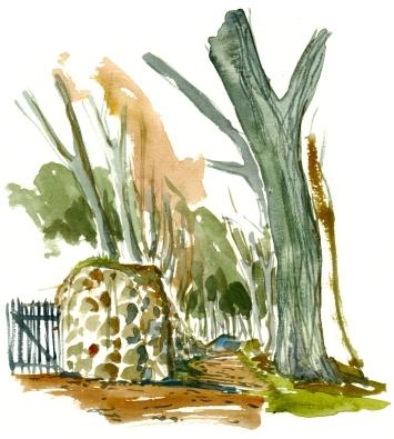 Kyststien, Rønne, akvarel - Watercolor by Frits Ahlefeldt Bornholm Coast path