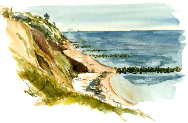 galløkken, akvarel - Watercolor by Frits Ahlefeldt Bornholm Coast path
