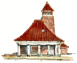Rønne - akvarel - Watercolor by Frits Ahlefeldt Bornholm Coast path